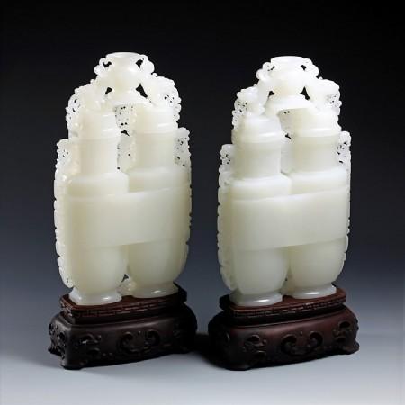 白玉子料-福寿连体双瓶