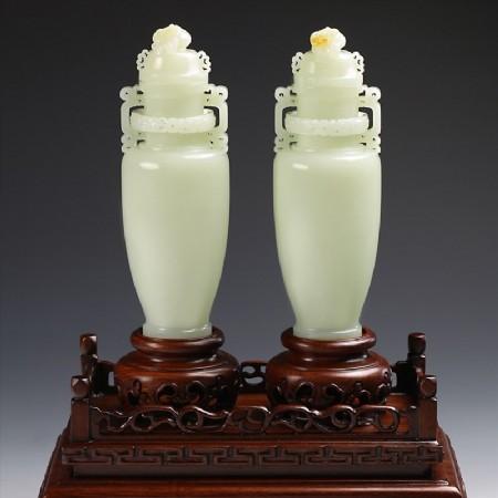 白玉子料-比翼同心双瓶