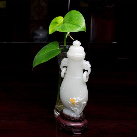 白玉籽料-兰花瓶