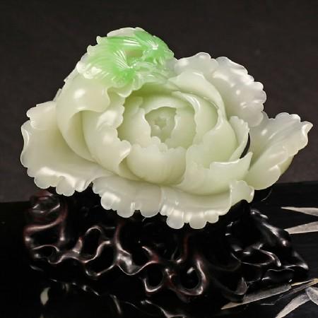 (翠青)白玉摆件-花开富贵