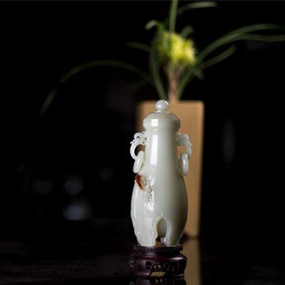 和田白玉籽《四季平安瓶》