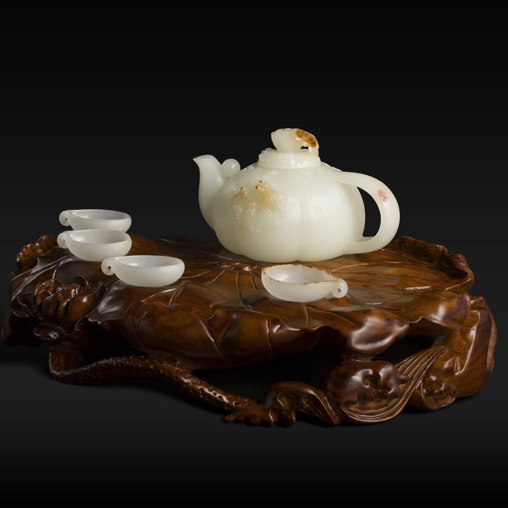 白玉子料茶壶-和气生财